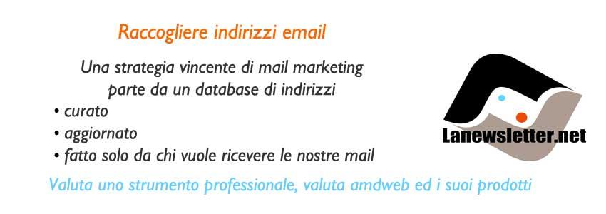 Raccogliere indirizzi email  lanewsletter.net